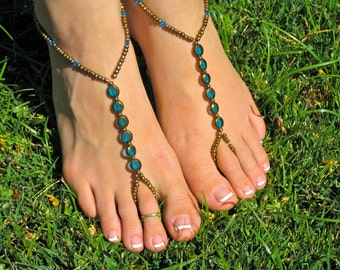 Bronze and Blue Barefoot Sandals. Foot Thong. Slave Anklet, Ankle Bracelet with Toe Ring