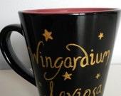 Wingardium leviosa harry potter inspired handpainted mug