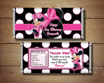 Printable Minnie Mouse Candy Bar Wrapper, Happy Birthday Minnie Mouse Candy Bar Wrapper, Thank You Candy Wrappers for Treat Goodie Bags