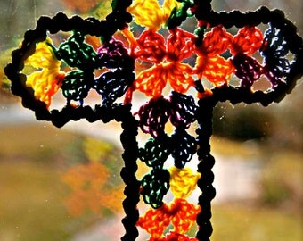 Stained 'Glass' Cross Ornament Bookmark