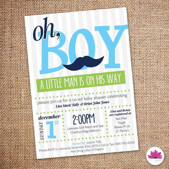 baby shower invitation mustache theme digital file