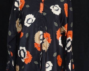 1960s 70s Blouse / Black Abstract Bold Poppy Print Blouse