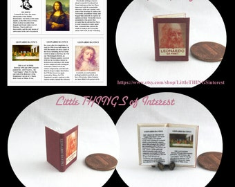 LEONARDO DA VINCI Miniature Book Dollhouse 1:12 Scale Readable Illustrated Book