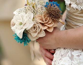 Alternative Bouquet French Beaded Bridal Bouquet with Custom French Beaded Flowers, Wedding Flowers for Brides and Bridesmaids (Deposit)
