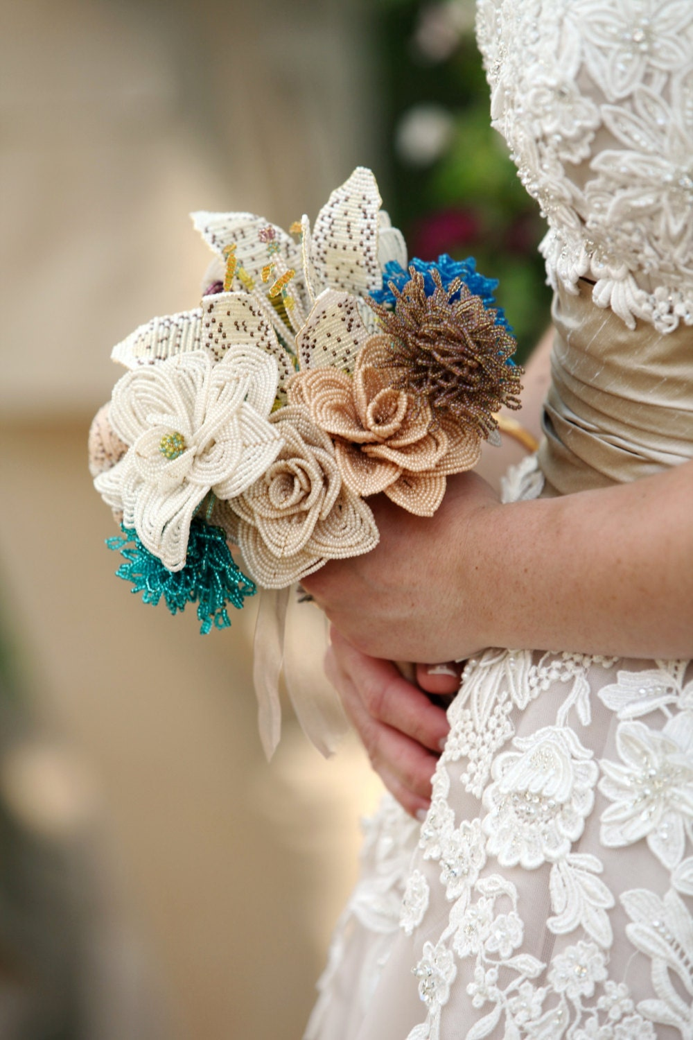 Alternative Bouquet French Beaded Bridal Bouquet With Custom