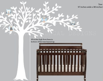 Owl tree decal, Blowing Tree, Owl Nursery Art, owl wall decal, nursery owl decor, Shades of Blue Design