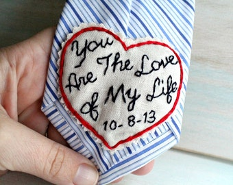 You Are the Love of My Life. Slim Patch. Hand Embroidered Tie Patch. Groom Gift. Groom Gift from Bride. Bride to Groom Gift. Necktie.