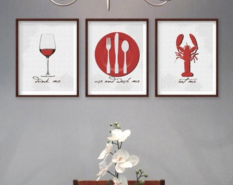 Dining Room Art   Kitchen Art Prints   Dining Room Prints   SET Of 3 Wine