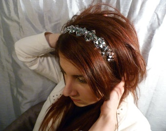 Shiny Silver Studded Full Headband