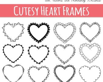 clip art heart frames digital frame decorative border design elements vector photoshop brush love heart doodle commercial