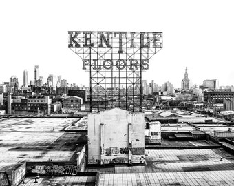 New York Photography - Kentile Floors Sign in Brooklyn, New York. Black and White Photograph - 8x10 photo