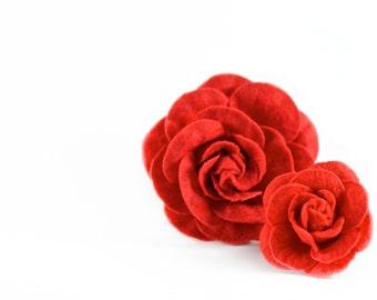 Red Dog Collar Flower - Rose Scarlet Removable Detachable Collar Flower