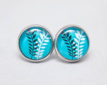 Glass Cabochon Earrings - White And Black Ferns On A Turquoise Background - Silver Setting - One Pair