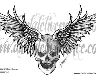 winged skull, tattoo design, flash. instant download, no postage