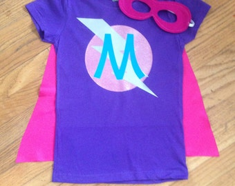 Girls Personalized Superhero T-Shirt with Cape and Mask Custom Birthday or Party Super Hero Shirt with Lightening Bolt and Initial
