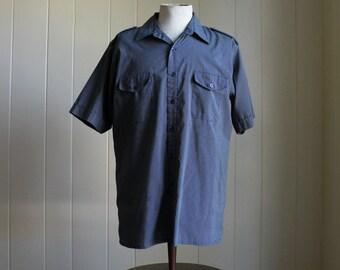 Blue White Pin Dots Vintage Pilot Uniform Shirt Men Sz Large