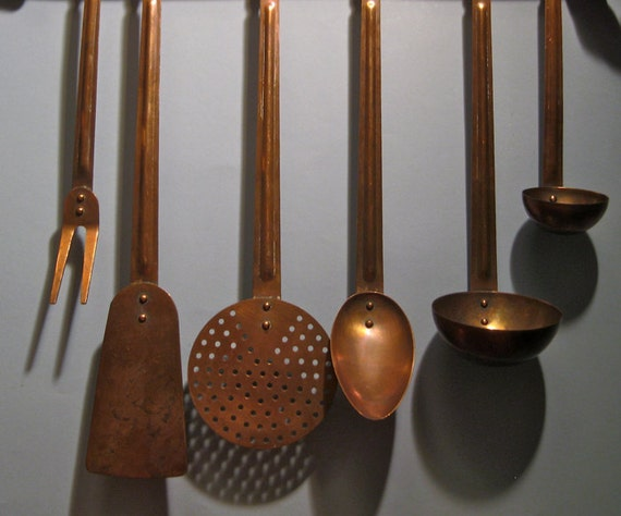 Vintage Set Solid Copper Kitchen Utensils Amp Wall By