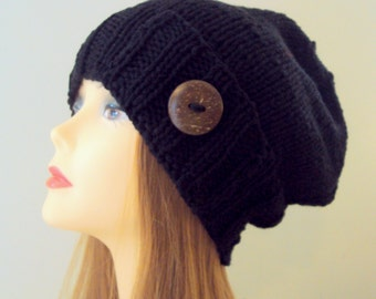 Women Slouchy Hat Slouch Button Beanie Hand Knit Winter Hat Black Chunky Hat