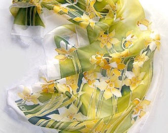 Silk scarf - Daffodils scarf - hand painted scarf Narcissus - yellow flowers scarf - spring scarf - green scarf - mother day - silk scarves