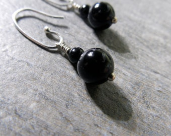 Dangle Earrings, Black Onyx, Sterling Silver, Black Earrings, Petite Earrings, Black Onyx Earrings, Little Black Dress, Basic Black