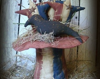 Primitive Americana Uncle Sam Hat With Crow & Stars Shelf Sitter