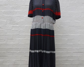 Women's UK 16 clothing hippie summer office shirt dress ladies blue spring dress maxi clothes vintage womens festival clothing 1970s vintage