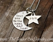 personalized necklace I love you to the moon and back with star hand stamped pendant necklace Valentine's Day Gift