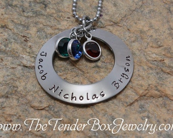 mothers Necklace hand stamped jewelry handstamped pendant necklace for up to 3 children with Swarovski birthstones
