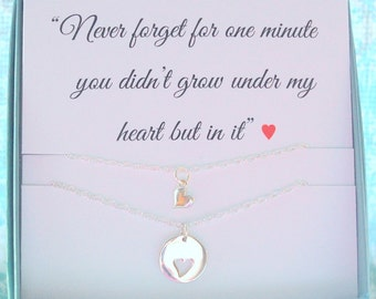 Adoption jewelry, You grew in my heart, Mother daughter jewelry, Adoption gift, Mom daughter, born in my heart POEM, New mom, Inspirational