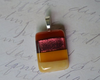 FUSED GLASS JEWELRY - Glass jewelry - jewelery - Dichroic Glass - Necklace - red - amber