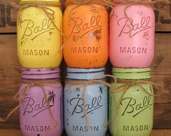 SALE Set of 3 Pint Mason Jars Painted Mason Jars Rustic