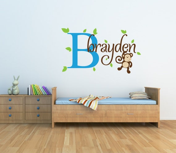 monkey name wall decal boys name wall decal jungle nursery. Black Bedroom Furniture Sets. Home Design Ideas