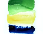 Abstract in Green, Yellow and Blue, Original Watercolor