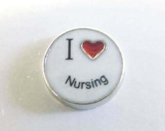 Nursing Floating Charm nurses charm locket charm I love nursing floating locket charm