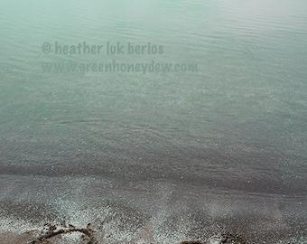 Beach Photography - Peace Sand Writing Wall Decor - Fine Art Photography Print, Neutral, Teal, Serene
