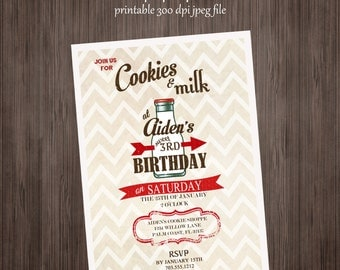 Cookies and Milk Invitation - Printable  Birthday or Baby Shower