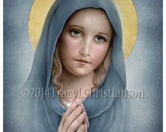 The Virgin Mary Catholic Art Print, Blessed Mother, Our Lady #4178