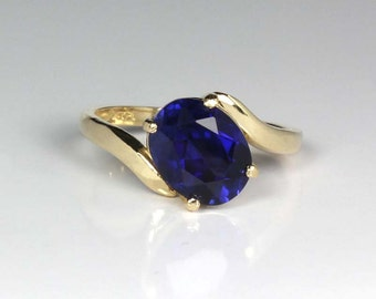 Blue Sapphire 14K SOLID Yellow Gold Engagement Ring / Blue Sapphire Ring SOLID Yellow Gold