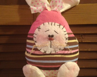 Handmade Primitive Hanging Bunny Rabbit Easter Egg Stuffed Doll, Shelf Sitter, Ornie, Tuck or Bowl/Basket Filler