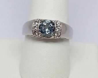 1.92ctw Chinese Aquamarine w White Topaz Sterling Silver Ring sz 10