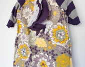purple yellow gray floral casual girls dress. back to school tunic