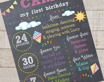 First Birthday Chalkboard- Custom First Birthday Sign-Rainbow Birthday- Kite- Chalkboard Stats-Custom Digital File-Birthday Party-Birthday
