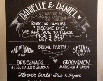 Wedding Bridal Party Chalkboard Sign.