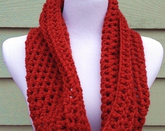 Crocheted Infintiy Scarf - Red