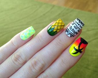 Summer fake nails, Nail designs, Nail art, Nails, Stiletto nails, Acrylic nails, Pointy nails, Fake nails, False nails
