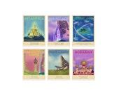 Retro Travel Poster - Disney - Set of 6 - MANY SIZES - Aladdin Tangled Frozen Pan Mermaid Lion King Kids Children Film Typography Art Print