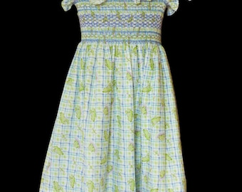 Hand-smocked cotton sun-dress, age 5 to 6, turtle print