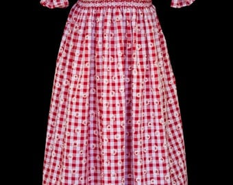 Hand-smocked red and white embossed Gingham dress, age 5