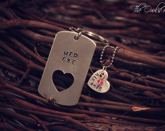 Hand Stamped Her One His Only Key Chain Necklace Set