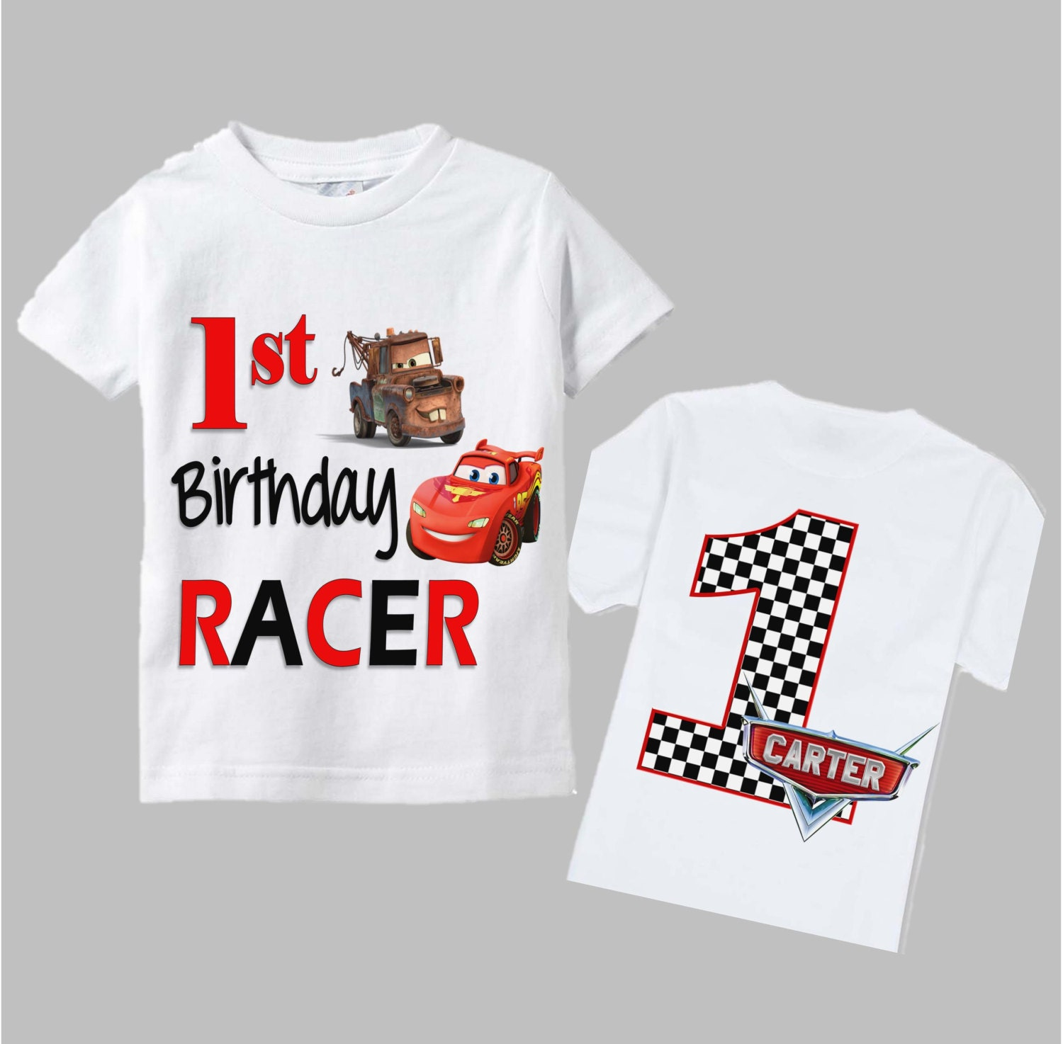 Disney Cars Birthday Shirt Double Sided Checkered Age